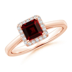 Classic Square Garnet Halo Ring