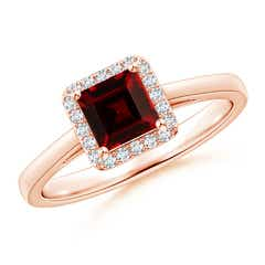 Classic Square-Cut Garnet Halo Ring
