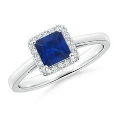 Classic Square Blue Sapphire Halo Ring