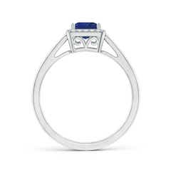 Toggle Classic Square Blue Sapphire Halo Ring