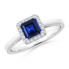 Classic Square-Cut Lab Created Blue Sapphire Halo Ring