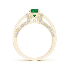 Toggle Vintage Style Emerald Split Shank Ring with Diamonds
