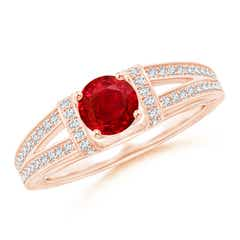 Vintage Style Ruby Split Shank Ring with Diamonds