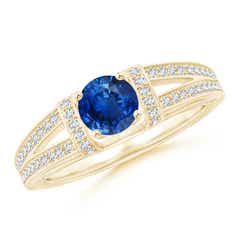 Vintage Style Blue Sapphire Split Shank Ring with Diamonds