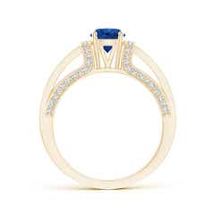 Toggle Vintage Style Blue Sapphire Split Shank Ring with Diamonds