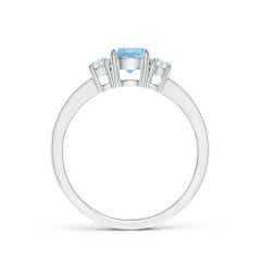 Toggle Classic Three Stone Aquamarine and Diamond Ring