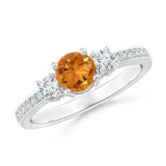 Classic Three Stone Citrine and Diamond Ring
