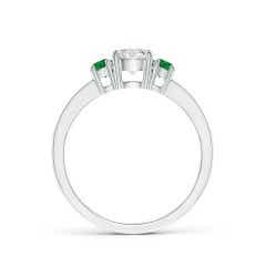 Toggle Classic Three Stone Diamond and Emerald Ring