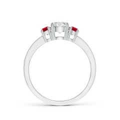 Toggle Classic Three Stone Diamond and Ruby Ring