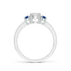 Toggle Classic Three Stone Diamond and Blue Sapphire Ring