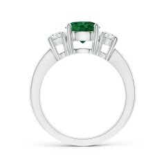 Toggle Classic Three Stone GIA Certified Emerald Ring with Diamonds
