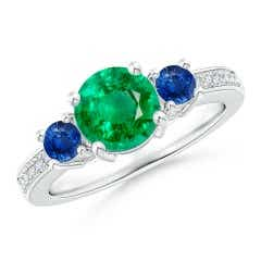 Classic Three Stone Emerald and Blue Sapphire Ring