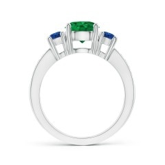 Toggle Classic Three Stone Emerald and Blue Sapphire Ring