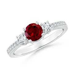 Classic Three Stone Garnet and Diamond Ring