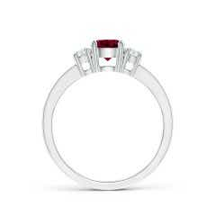 Toggle Classic Three Stone Garnet and Diamond Ring