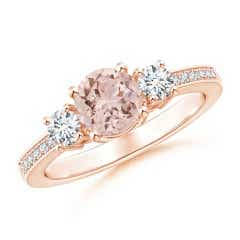 Classic Three Stone Morganite and Diamond Ring
