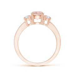 Toggle Classic Three Stone Morganite and Diamond Ring