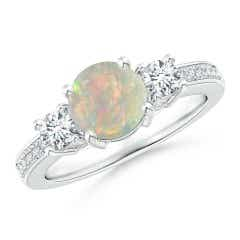 Classic Three Stone Opal and Diamond Ring