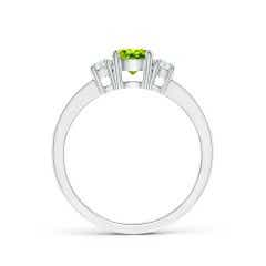 Toggle Classic Three Stone Peridot and Diamond Ring