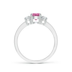 Toggle Classic Three Stone Pink Sapphire and Diamond Ring