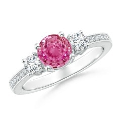 Classic Three Stone Pink Sapphire and Diamond Ring