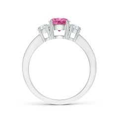 Toggle Classic Three Stone Pink Sapphire and Diamond Ring