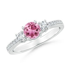 Classic Three Stone Pink Tourmaline and Diamond Ring