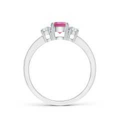 Toggle Classic Three Stone Pink Tourmaline and Diamond Ring