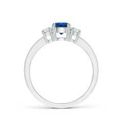 Toggle Classic Three Stone Blue Sapphire and Diamond Ring