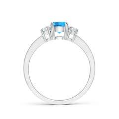 Toggle Classic Three Stone Swiss Blue Topaz and Diamond Ring