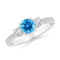 Classic Three Stone Swiss Blue Topaz and Diamond Ring