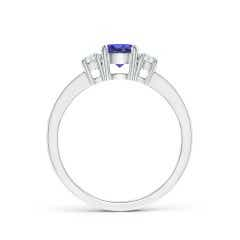 Toggle Classic Three Stone Tanzanite and Diamond Ring