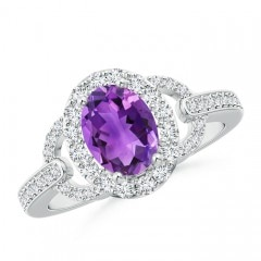 Vintage Style Oval Amethyst Halo Ring
