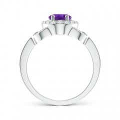 Toggle Vintage Style Oval Amethyst Halo Ring