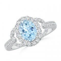 Vintage Style Oval Aquamarine Halo Ring