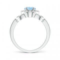 Toggle Vintage Style Oval Aquamarine Halo Ring