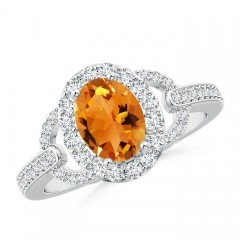 Angara Split Shank Round Citrine Halo Ring in 14K Yellow Gold Setting DXQ02K4j