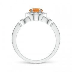 Toggle Vintage Style Oval Citrine Halo Ring