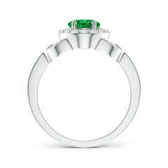 Toggle Vintage Style Oval Emerald Halo Ring