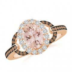 Vintage Style Morganite Halo Ring with Coffee & White Diamond