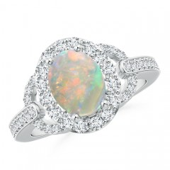 Vintage Style Oval Opal Halo Ring