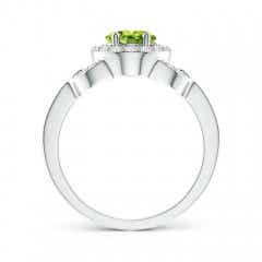 Toggle Vintage Style Oval Peridot Halo Ring