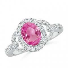 Vintage Style Oval Pink Sapphire Halo Ring