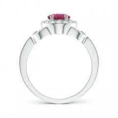 Toggle Vintage Style Oval Pink Tourmaline Halo Ring