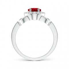 Toggle Vintage Style Oval Ruby Halo Ring