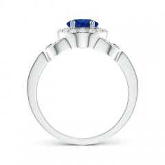 Toggle Vintage Style Oval Blue Sapphire Halo Ring
