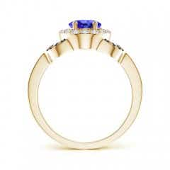Toggle Vintage Style Tanzanite Halo Ring with Coffee & White Diamond