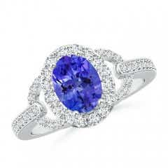 Vintage Inspired Oval Tanzanite Halo Ring with Diamond Accents