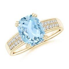 Cushion Aquamarine Cocktail Ring with Diamonds