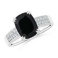 Cushion Black Onyx Cocktail Ring with Diamonds